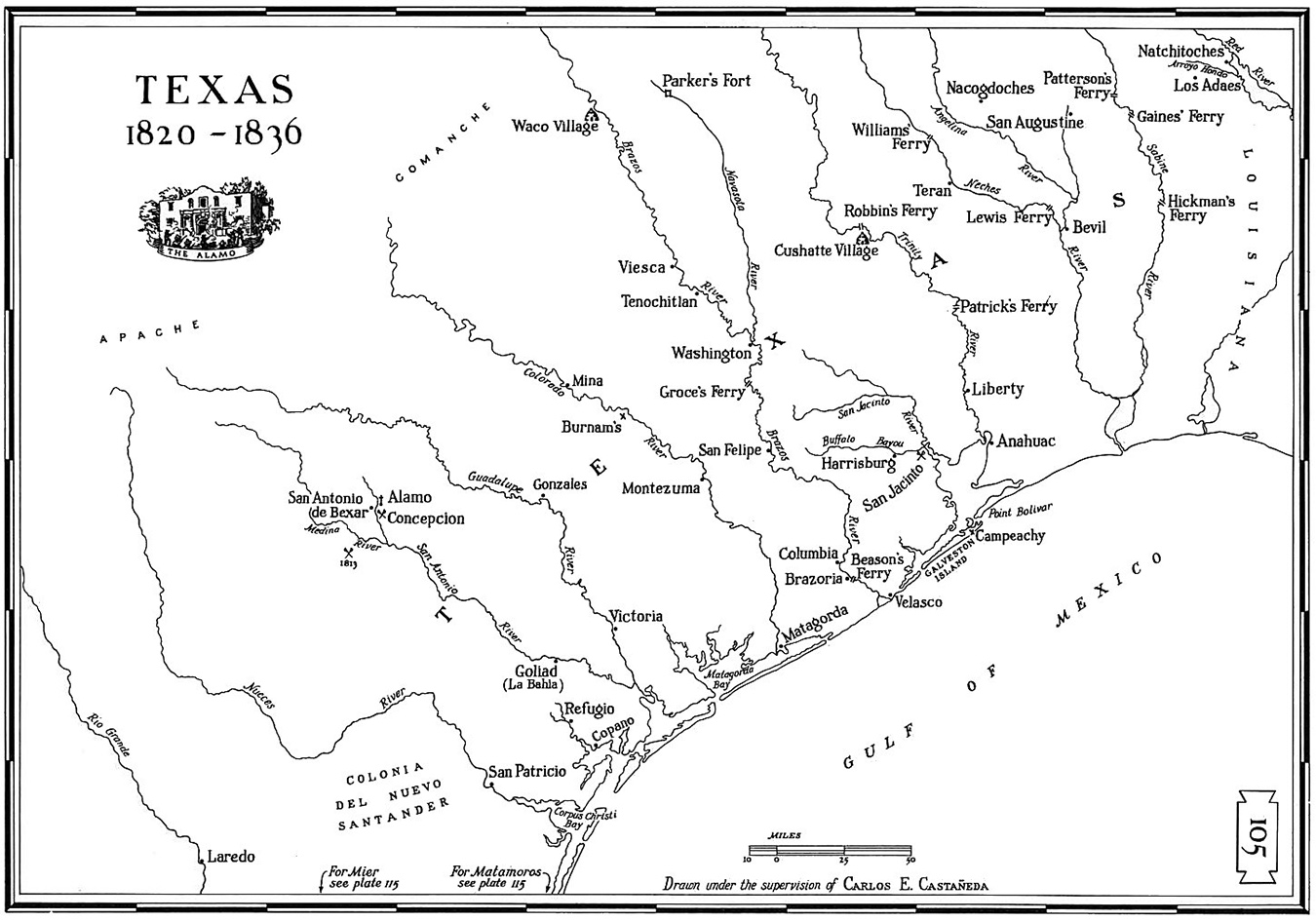 Map Of Texas 1835.William H Magill Of Mina Texas Served In First Texas Rangers Unit